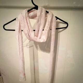 Lace Look White Scarf