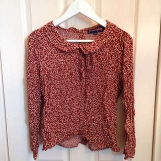Princess Highway Maroon Floral Button Down Back Blouse Peter Pan Collar Size 10