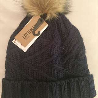 Navy Blue Cotton On Beanie