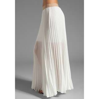 Bcbg White Pleated Maxi Skirt
