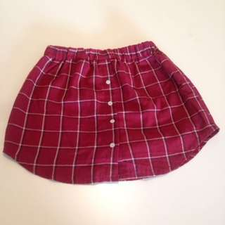 Red Checked High Waisted Skirt