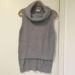 Seed Sleeveless Roll Neck Knit, Grey, M