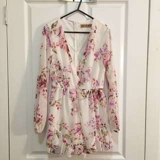 Floral Long-Sleeve Plunge Neck Playsuit