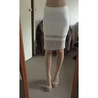 White Midi Mesh Skirt