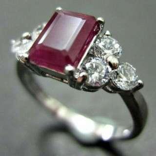 《春節特賣 急求現》超大1.50克拉天然無燒紅寶石 方形切割~珠寶設計精緻手工(港鑲)
