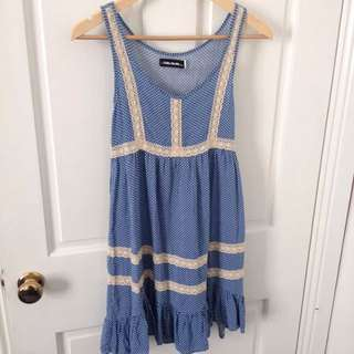 Blue Spotty Dress With Lace