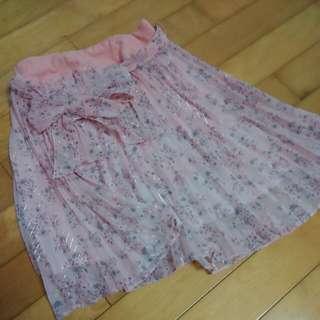 粉色百摺短裙
