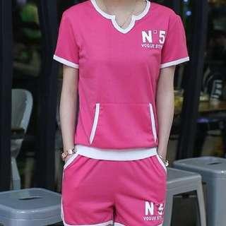 2016夏裝新款休閒動短袖短褲兩件套裝