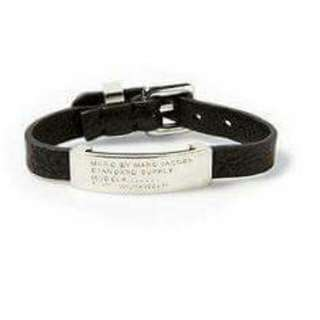 Marc By Marc Jacobs Stainless Steel Standard Supply Leather ID Bracelet