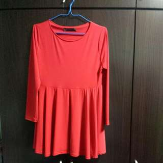 Plus Sized Red Long Sleeves Peplum Blouse