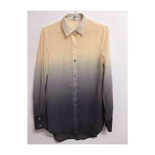 米黃色 深灰色 漸層雪紡 長袖襯衫
