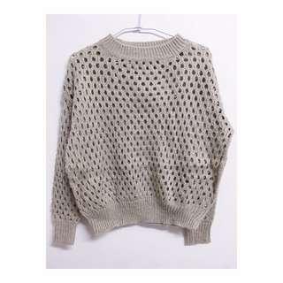 灰色 毛料 粗織 寬鬆 毛衣