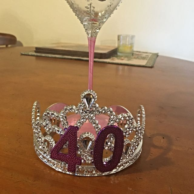 40th Birthday Glass & Tiara