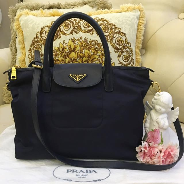 cfa5e0b98cc6 ... shopping 499 sale pristine prada tessuto and saffiano nylon tote bag in  dark navy blue bn2106