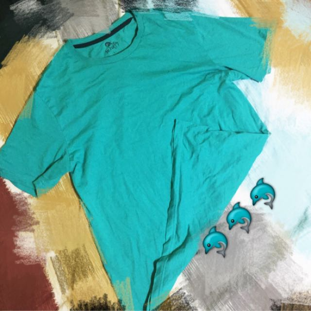 藍綠色素色短袖上衣-L號
