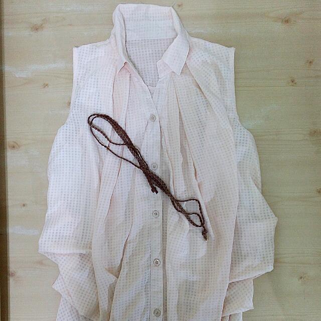 杏粉色無袖長版襯衫(不附綁帶)