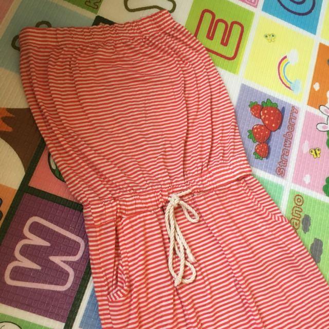 橘色條紋平口連身裙(夏日棉麻感)
