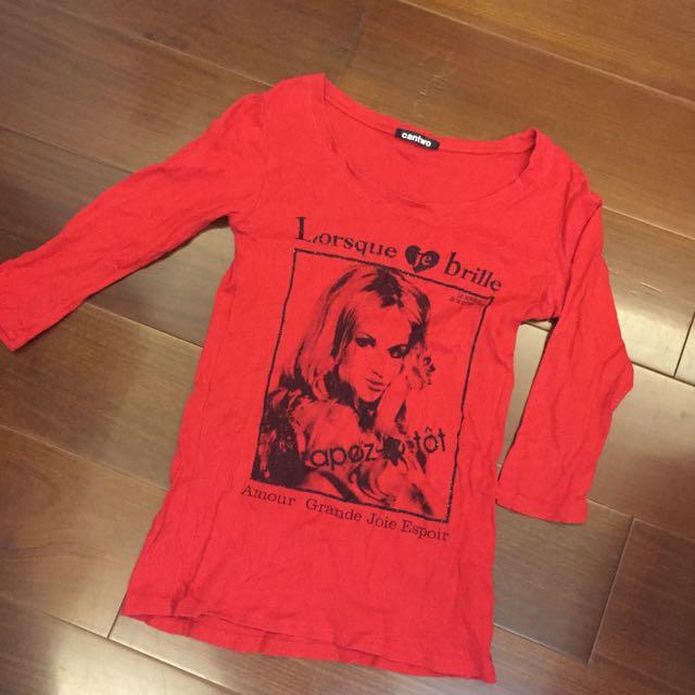清倉亂賣✅七分袖鮮紅色上衣
