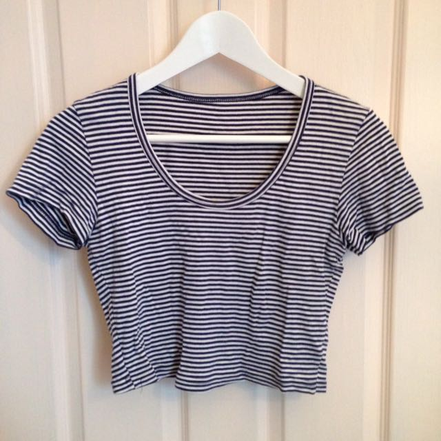 American Apparel Navy And White Striped Crop Shirt Medium