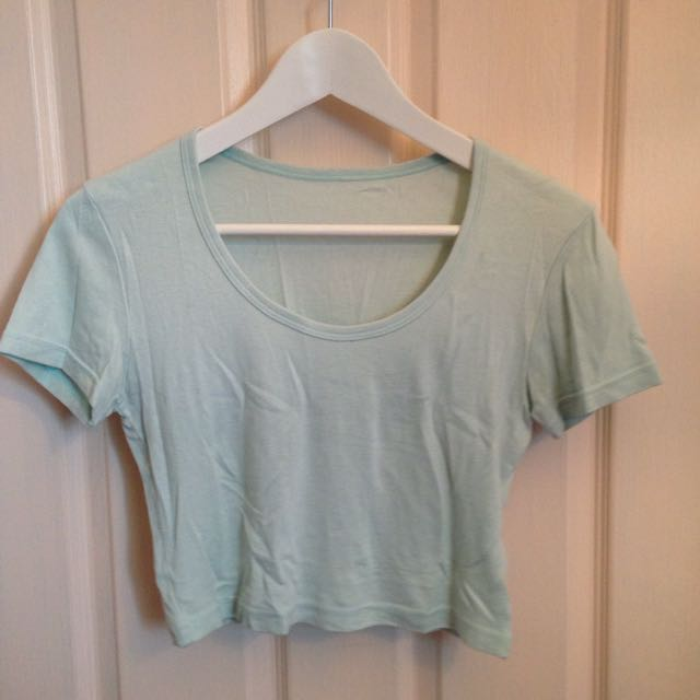 American Apparel Sea foam Green Medium Crop Shirt