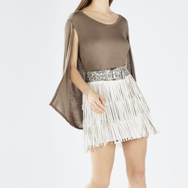 Bcbg Suede Fringe Skirt