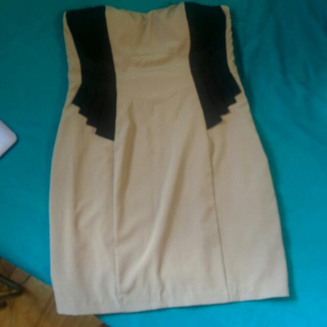 Beige Strapless Dress