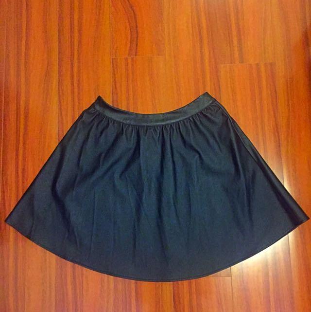 Black PU Leather Skirt