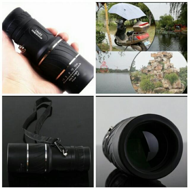 Black Single Focus 16x52 Zoom Monocular Telescope Optic Lens Travel Spotting Scope HD Monoculars telescopes Outdoor Device, Photography on Carousell