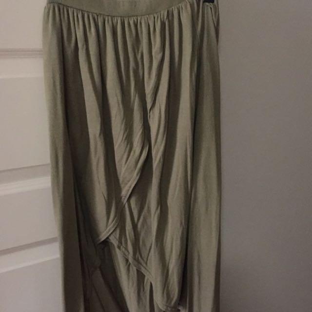 Boho khaki maxi skirt