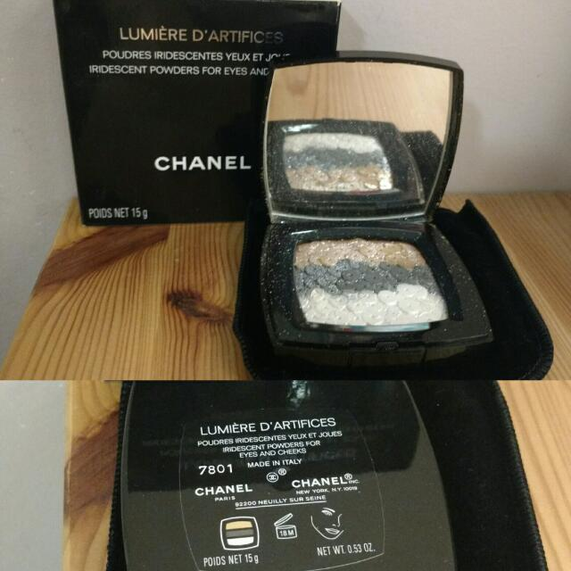 Chanel lumière d'artifices iridescent powders for eyes and cheeks.