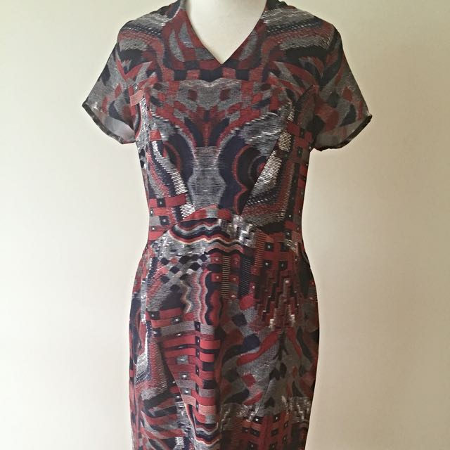David Lawrence Size 14 Print Fitted Dress