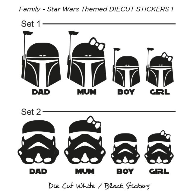 Die Cut Stickers / decal (Family 1 - Star Wars Themed) - Waterproof