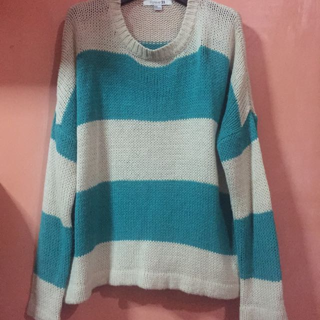 F21 Teal Striped Pullover