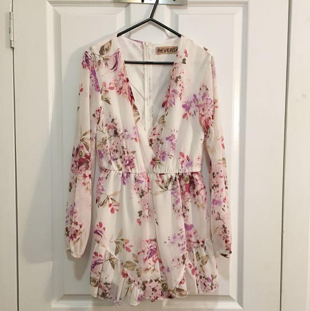 Floral Long-Sleeve Plunge Neck Playsuit