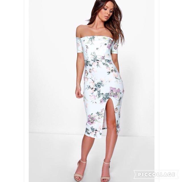 Floral Off Shoulder Midi Dress with Slit