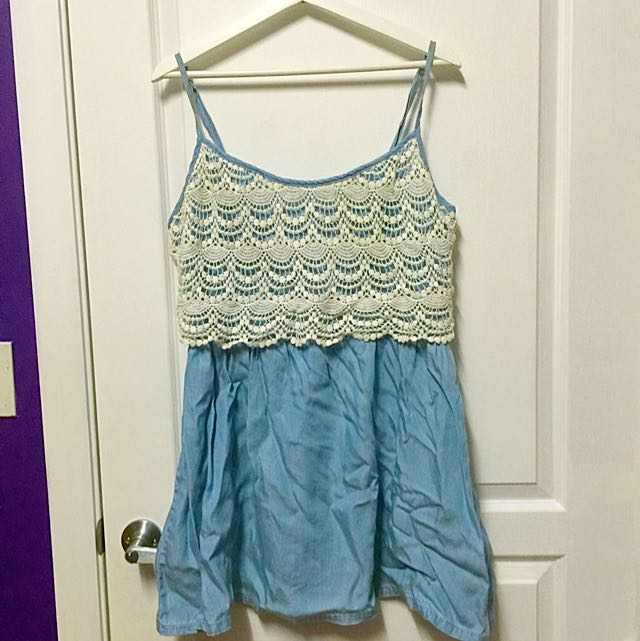 Forever New Blue And White Lace Sun Dress