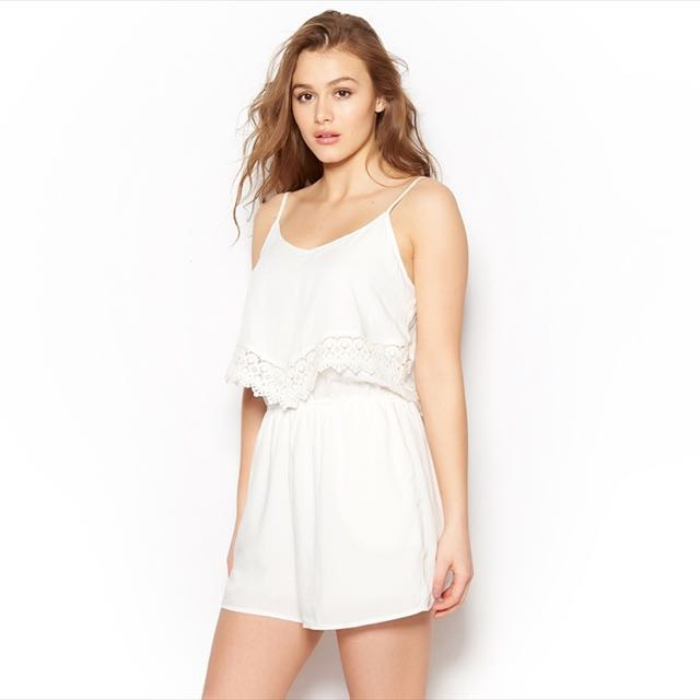 Garage Double Layer Romper With Lace