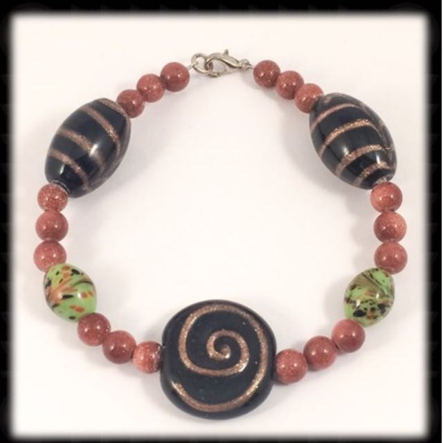Goldstone And Chunky Bead Bracelet