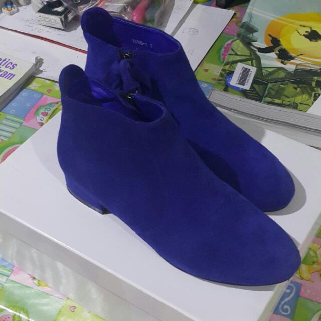 JO MERCER Cobalt Suede Ankle Boot Size 37
