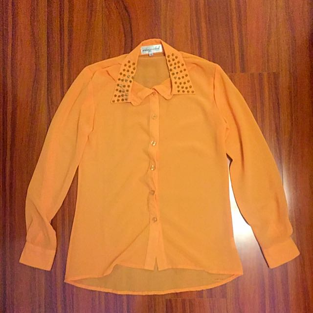 MISSGUIDED Orange Neon Top With Spiked Collar