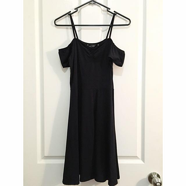 New Look Black Cold Shoulder Skater Dress