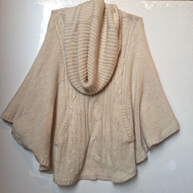 Oversize Roll Neck Knit Poncho
