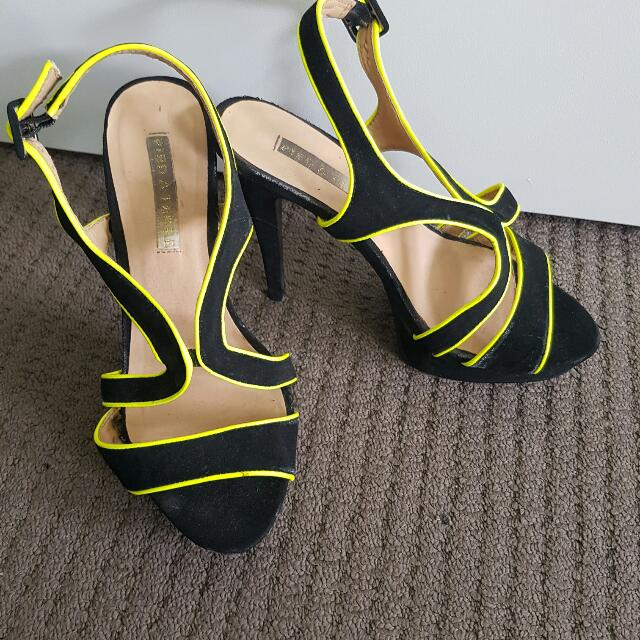 Pied A Terre Black And Yellow Trim Shoes
