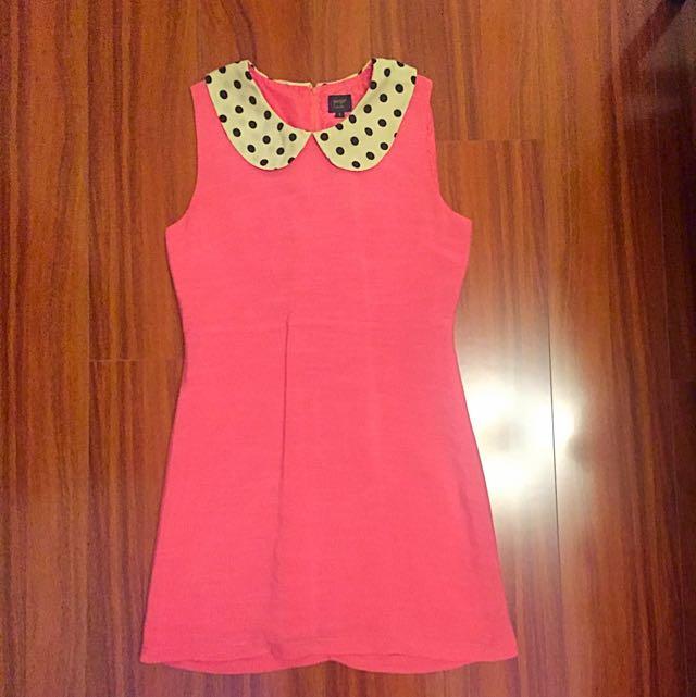 Pink Sleeveless Dress With Polka-Dot Collar