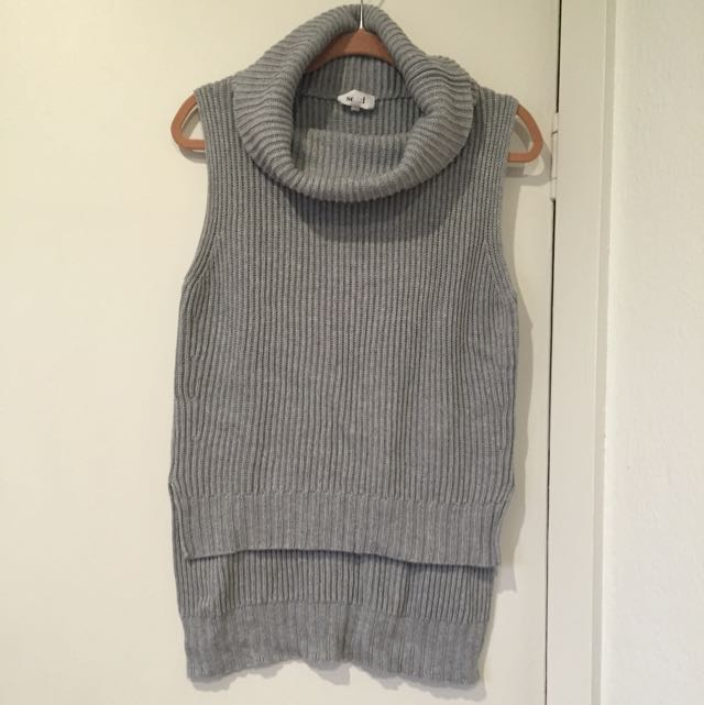 Seed Sleeveless Roll Neck Knit, Grey, M