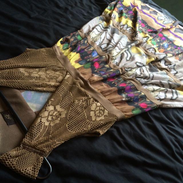 Size 10 - Brown & Printed Maxi Dress