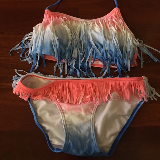 Size 8 blue and pink bikinis with fringe only worn once!