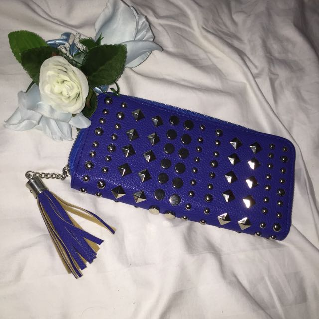 Studded Navy Wallet