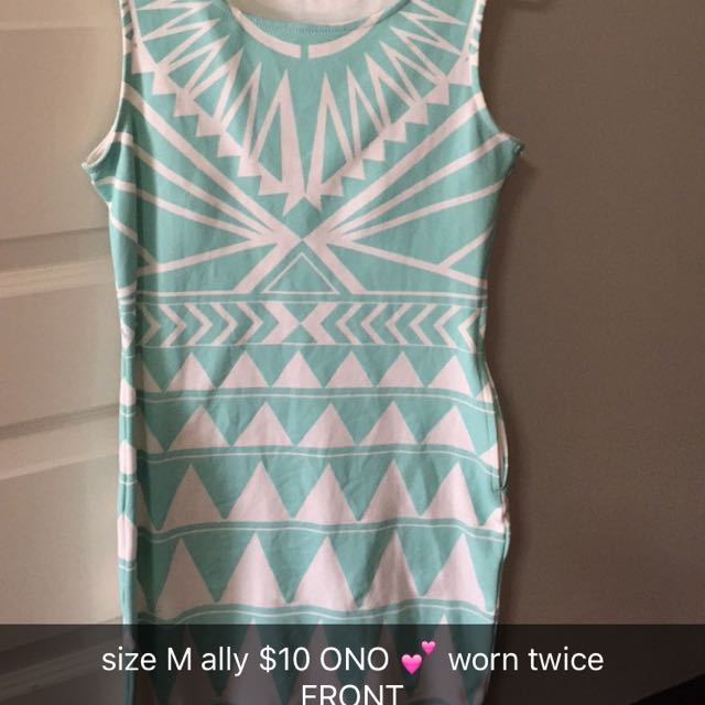 Tight Aqua and white party dress