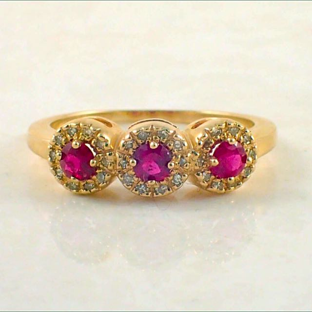 Vintage 14 Carat Yellow Gold Ruby And Diamond Ring